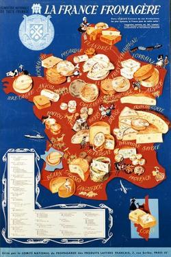 La France Fromagere', Poster Depicting the Cheeses of France