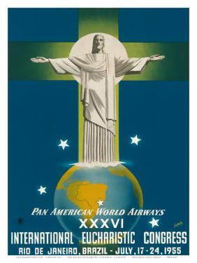 Pan American Airways Rio de Janeiro, Brazil, Christ on the Cross, c.1955 by La Motta