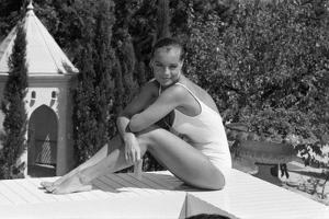 La Piscine by Jacques Deray with Romy Schneider, 1969 (b/w photo)