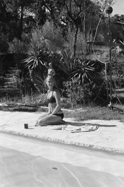 La Piscine by Jacques Deray with Romy Schneider, 1969 (b/w photo)