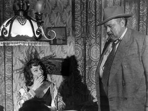 La Soif du Mal TOUCH OF EVIL by OrsonWelles with Marlene Dietrich and Orson Welles, 1958 (b/w photo