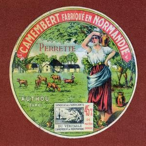 Label for 'Le Perrette Camembert', Made in Authou, Normandy