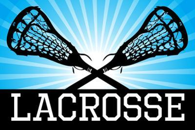Lacrosse Blue Sports Poster Print