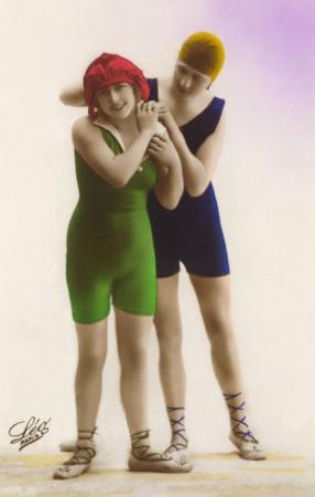 Ladies in Blue and Green Bathing Suits