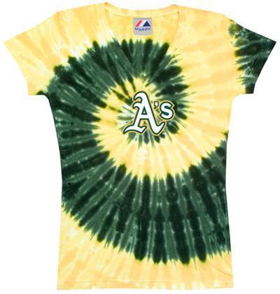 Ladies: MLB-Athletics Spiral V-Neck