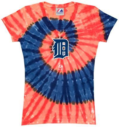 Ladies: MLB-Tigers Spiral V-Neck