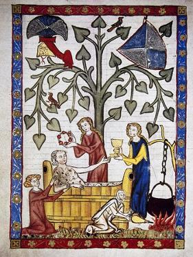 Ladies Preparing the Bath of Poet Jakob Von Warte. Codex Manesse (Ca.1300)