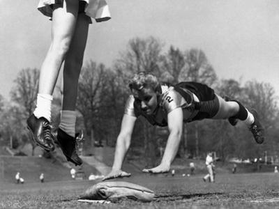Ladies Softball Player Diving for Third Base, Atlanta, Georgia, 1955