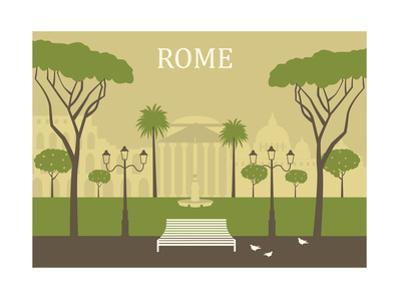 Park in Rome. Vector by Ladoga