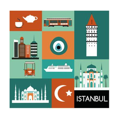 Symbols of Istanbul. Vector by Ladoga