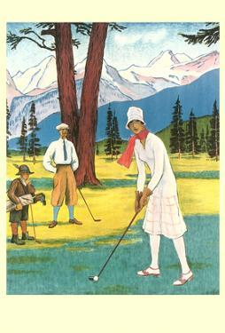 Lady Golfer in the Mountains