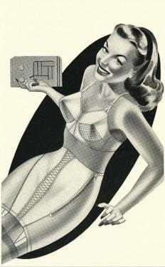 Lady in Underwear Adjusting Radio