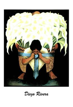 Lady W/ Basket of Lillies Diego Rivera ART PRINT POSTER