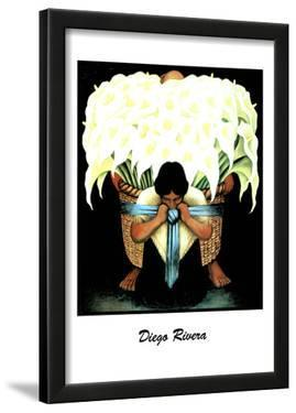 Lady W/ Basket of Lillies Diego Rivera ART PRINT POSTER