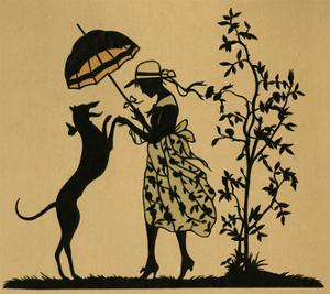 Lady with Parasol and Dog in a Garden