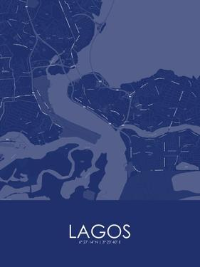 Lagos, Nigeria Blue Map