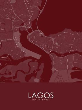 Lagos, Nigeria Red Map