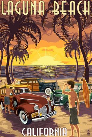 Laguna Beach, California - Woodies And Sunset
