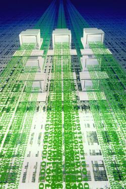 Information Superhighway: Computers & Binary Digit by Laguna Design