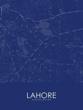 Lahore, Pakistan Blue Map