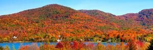 Lake Bromont with Bromont Mountain in the background, Bromont, Quebec , Canada