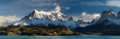 Lake in Front of Mountains, Lake Pehoe, Cuernos Del Paine, Paine Grande, Torres Del Paine Nation...