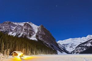 Lake Louise on a Clear Night in Banff National Park, Alberta, Canada