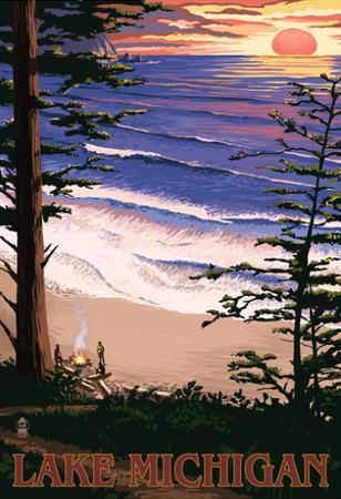 Lake Michigan - Sunset on Beach