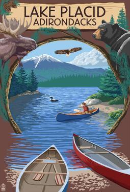 Lake Placid, New York - Adirondacks Canoe Scene
