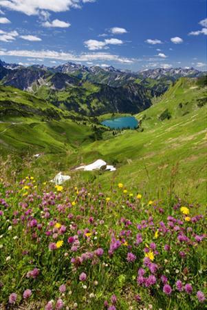 Lake Seealpsee at Nebelhorn Mountain (2224m), Oberstdorf, Allgaeu, Swabia, Bavaria, Germany