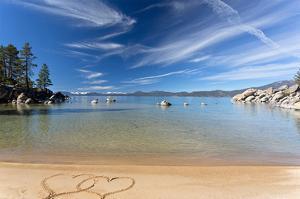 Lake Tahoe Beach With 2 Hearts