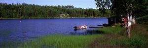 Lake with Cabin and Boat, Near Falun, Dalarna, Sweden