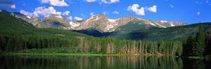 Lake with Mountain Range in the Background, Sprague Lake, Rocky Mountain National Park, Colorado