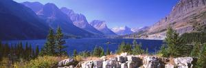 Lake with Mountain Range in the Background, St. Mary Lake, Glacier National Park, Montana, USA