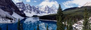 Lake with Snow Covered Mountains in the Background, Moraine Lake, Banff National Park, Alberta
