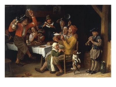 An Interior with Peasants Singing and Dancing Around a Table, 1681