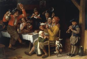 An Interior with Peasants Singing and Dancing Around a Table, 1681 by Lambert Doomer