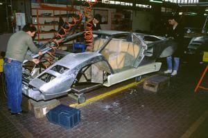 Lamborghini factory 1988.Countach under construction
