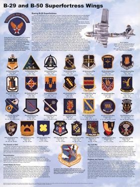 Laminated B-29/B-50 Airplane Superfortress Wings Military Chart Poster