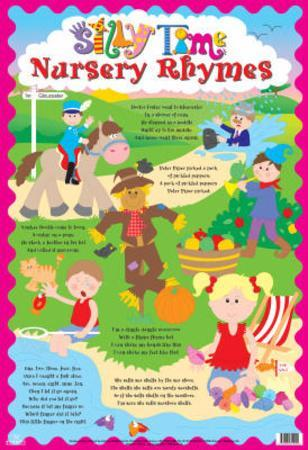 Laminated Silly Time Nursery Rhymes Educational Chart Poster Print