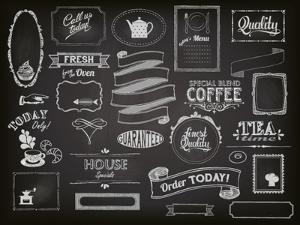 Chalkboard Ads, Including Frames, Banners, Swirls and Advertisements for Restaurant, Coffee Shop by LanaN.