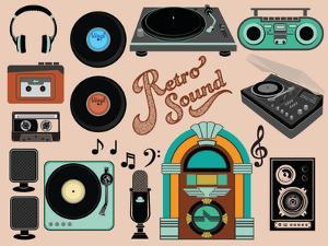 Retro Sound - Set of Music-Related Objects and Clip Art, including Vintage Gramophones, Juke Box, W by LanaN