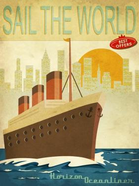 Sail The World - Vintage Poster With Ocean-Liner And Cityscape by LanaN.