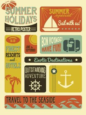 Summer Holidays Poster - Retro Style Summer Poster by LanaN.