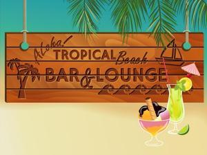 Tropical Beach Bar Wood Board Signpost, With Sandy Beach And Palm Tree Leaves In The Background by LanaN.