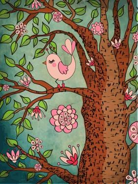 Vintage Wallpaper: Cute Bird Perched On A Flowering Tree by LanaN.