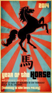 Year Of The Horse Poster - Chinese Zodiac Card With The Rearing Horse And Chinese Character Fo by LanaN.