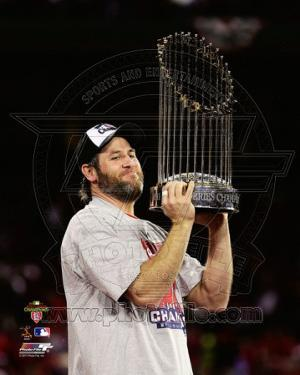 Lance Berkman with the World Series Championshop Trophy Game 7 of the 2011 MLB World Series (#44)