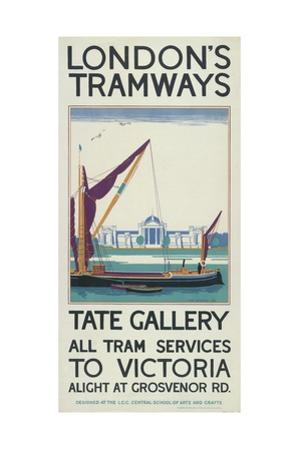 Tate Gallery, London County Council (LC) Tramways Poster, 1925 by Lance Cattermole