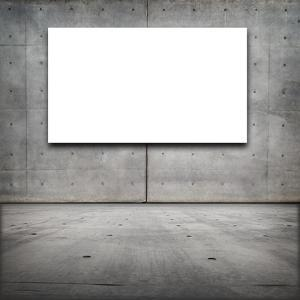 Blank White Board in a Grungy Concrete Room by landio